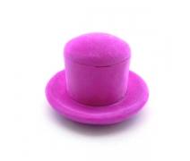 Kadife Kaplı Şapka Kutu Fuşya