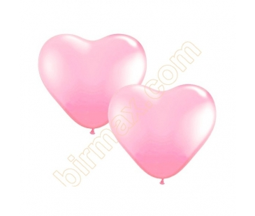 pembe kalp latex balon